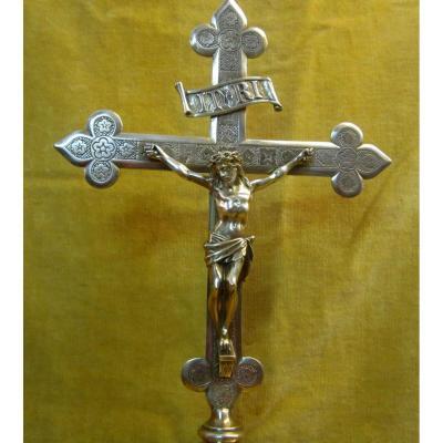 Christ En Croix Fleurs De Lys Crucifix d'Autel Bronze Bruxelles 18-19 éme