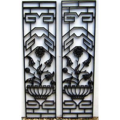 Grilles Porte d'Entrée Fleurs En Pot 1900-1930