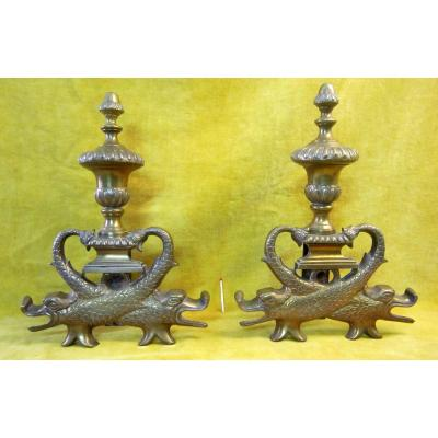 For Andirons Dolphins Style Bronze Lxiv 19th