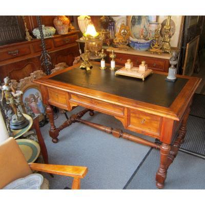 Bureau Plat Noyer 19éme Napoléon III Style LXIII