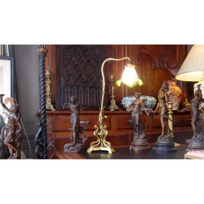 Lampe Bureau Salon Bronze Doré Dragons Ailés Napoleon III