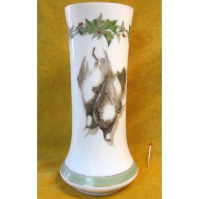 Vase Opaline Décor Peint Gibier  Napoléon III 19éme