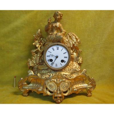 Pendule Napoleon III Jeune Paysanne Pendant La Moisson 19éme