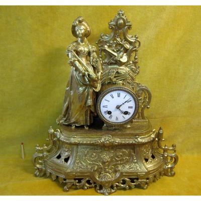 Woman Pendulum Troubadour Mandolin Romantic 19th Golden