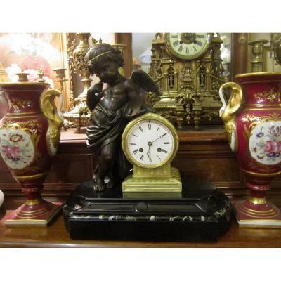 Pendule Chérubin Cupidon Angelot Peintre St Lxvi Napoléon III 19éme
