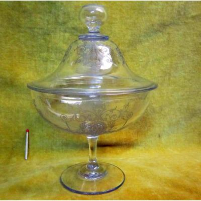 Bezel, Fruit Bowl, Closed Cup, Crystal Engraved 19th Soufflé