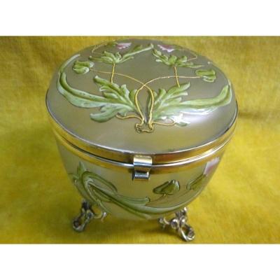 Box Jewelry Box Baguier Bonbonniére Crystal Glazed Art Nouveau