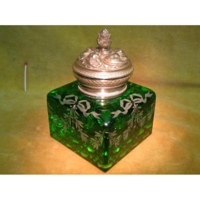 Encrier Cristal Vert Baccarat ?et Bronze Doré St Lxvi Napoléon III