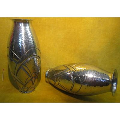 Pair Of Art Deco Vase Sculpted Pewter 1930