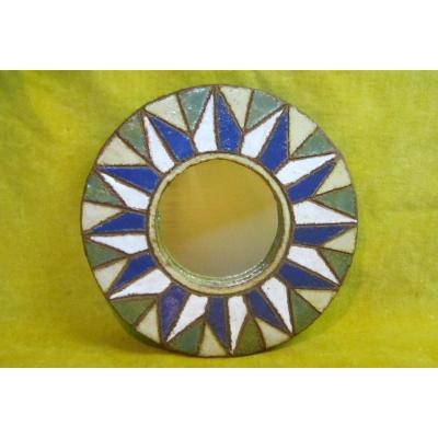 """Ceramic Mirror """"les Argonautes"""" Vallauris From 60  F.bourguet And I.ferlay"""
