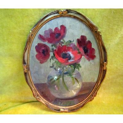 Peinture Bouquet Fleurs Pavots En Vase 1930 A. Hugonnard (1906-87)