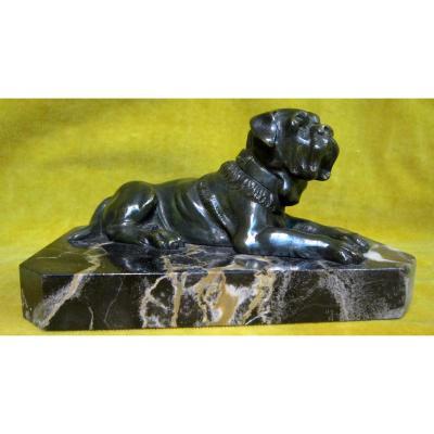 Molosse Dogue Statuette Chien Bronze Art Deco 30 Sur Marbre Portor