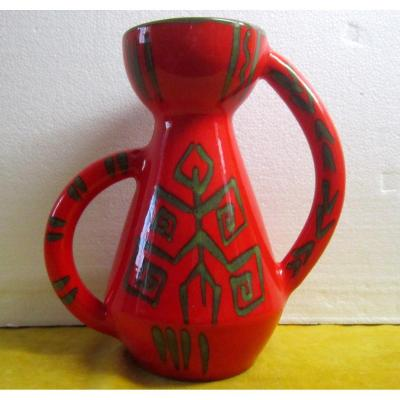 "Grand Vase B G Vallauris ""africaniste "" Vintage 50-60"