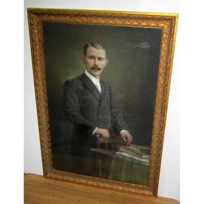 Grand Portrait Pastel d'Homme Encadré 19éme