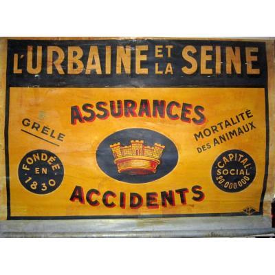 """Affiche sur Zinc Publicité Assurance """"l'Urbaine et la Seine"""" Art Déco 30"""