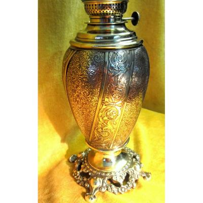 Grande Lampe Pétrole Bronze Laiton St Lxv Napoléon III 19ème