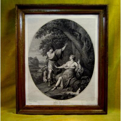 "Engraving In Black ""dapni Et Fille"" By Joan Volpato 18th"
