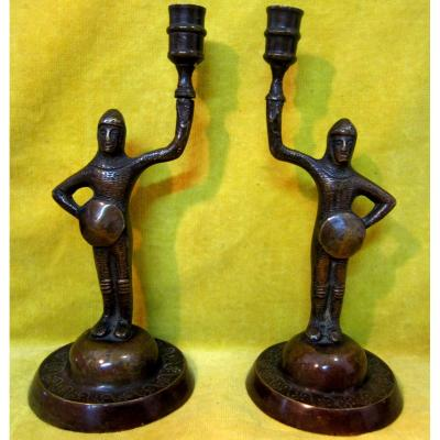 Pair Candlesticks Bronze Squire Knight Neogothic Troubadour 19th