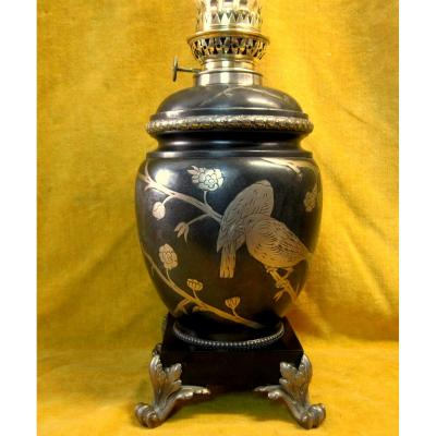 Large Napoleon III Oil Lamp Japanese Steel