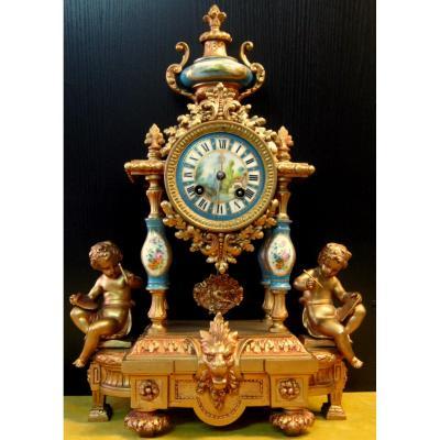 Pendule Néo-classique Lxv Décor St Sévres Napoléon III 19éme