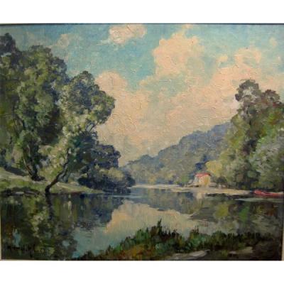 """l'Orne à Clecy"" Normandie Marius Hubert-robert (1885-1966)"