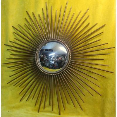 Miroir Soleil Bombé ''sorciére'' Métal Doré Chaty Vallauris 60/70