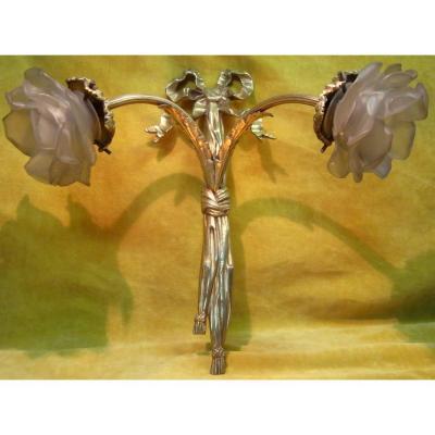 Applique Bronze Doré St LXVI 2 Lumiéres Tombantes Fleurs