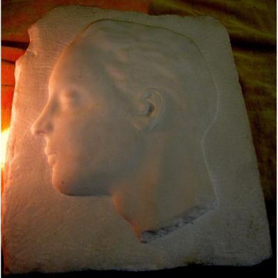 Sculpture Marbre Profil Jeune Homme Art Déco