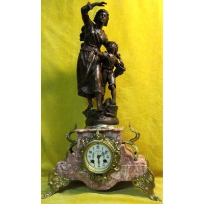 """Garniture """"1900"""" sculpture femme de pécheur E. Rancoulet"""