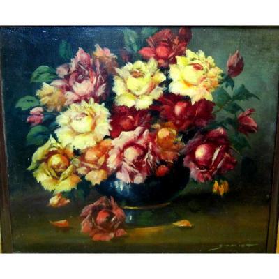 Nature Morte Bouquet De Roses En Vase Année 50