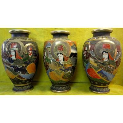 3 Vases Satsuma Geisha Et Samourais Japon Impériale Méiji
