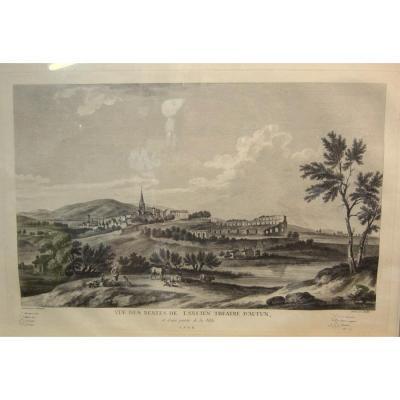 """Gravure""""Vue des restes de l'Ancien Théatre d'Autun""""JB Lallemand Vers 1780"""