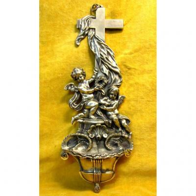 Grand Bénitier Bronze Angelots Et Croix St Lxv Fin 18 Début 19éme