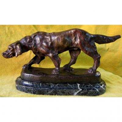 Setter Stationary Or On The Lookout Bronze T.cartier (1879-1943)