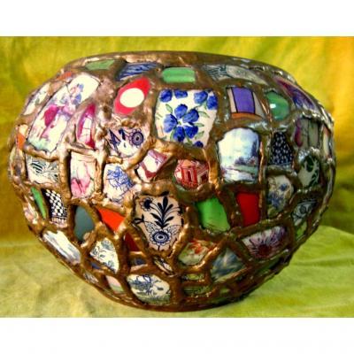 "Grand Cache-pot ""Picassiette""  BERTHOUX Cluny 50"