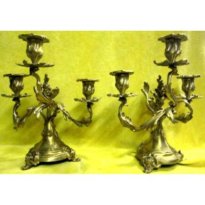 Candlesticks Pair Of 3 Twisted Lights St Lxv Rockery 19th