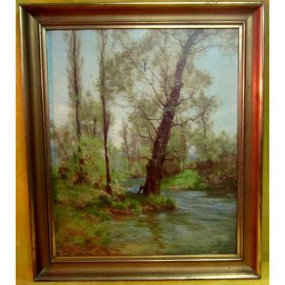 Sous Bois Oil Léon Boudot (besançon 1851-1928)