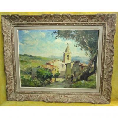 Village Corse Huile Sur Toile Du Peintre Corse Tony Cardella (1898-1976)