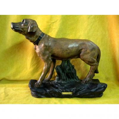 Hunting Dog By Capovan Large Patinated Plaster