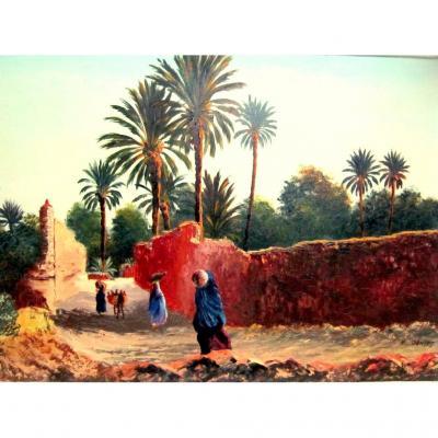 Peinture Orientaliste Afrique Du Nord Emile JANTET 1950-60