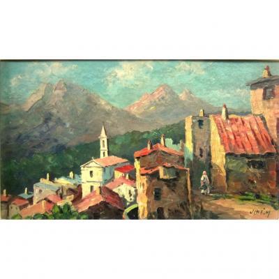 Village Corse Evisa Huile Encadrée des années 1950-60