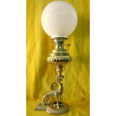 Grande Lampe à Pétrole Dragon Bronze Doré St Renaissance  Napoléon III 19éme