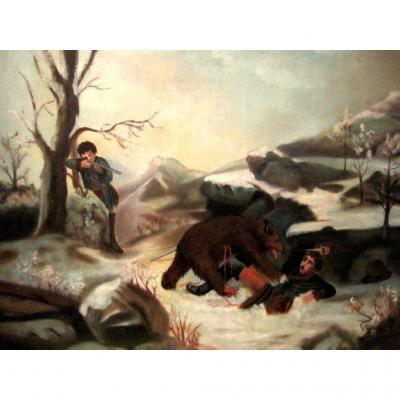 Chasse à l'Ours Brun Grizzly Tragique Sur Toile 1883 A G (?)