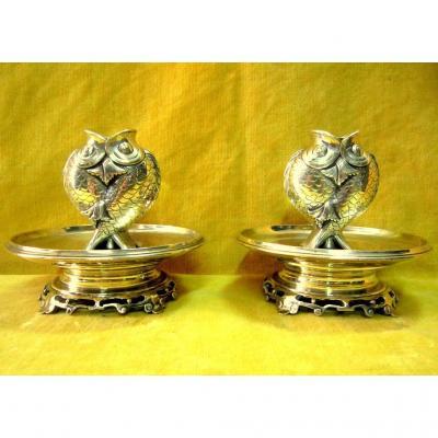 Bougeoirs Paire En Bronze Carpe Koï Japon Impériale Meiji (1862-1912) 19éme
