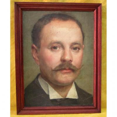 """Portrait homme à moustaches """"guidon de vélo"""" école française 19ème"""