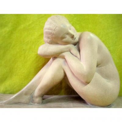 Terre Cuite Nue Féminin Art Déco 30 école Néoclassique Sculpture Amédeo Gennarelli (1881-1945)