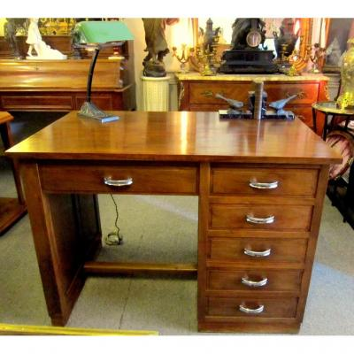 Office Flat Art Deco 1930/50 Walnut Box 5 Drawers Right Panel Mounted