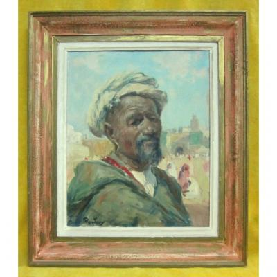 Orientalist Oil Portrait H.j. Pontoy (1888/1968) North Africa Man With Turban