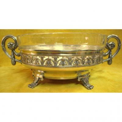 Center Table Cup Planter Bouquetière Silver Bronze Crystal St Lxvi 19th