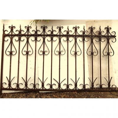 2 Curved Wrought Iron Grates 19th